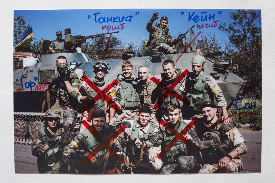 "© Alexander Vasukovich, Left to right: callsign ""Gor"", ""Tankist"", ""Kein"", ""Son"", were killed. Original photo was taken on July 20, 2014 near Artemovsk, Donetsk region, Ukraine."