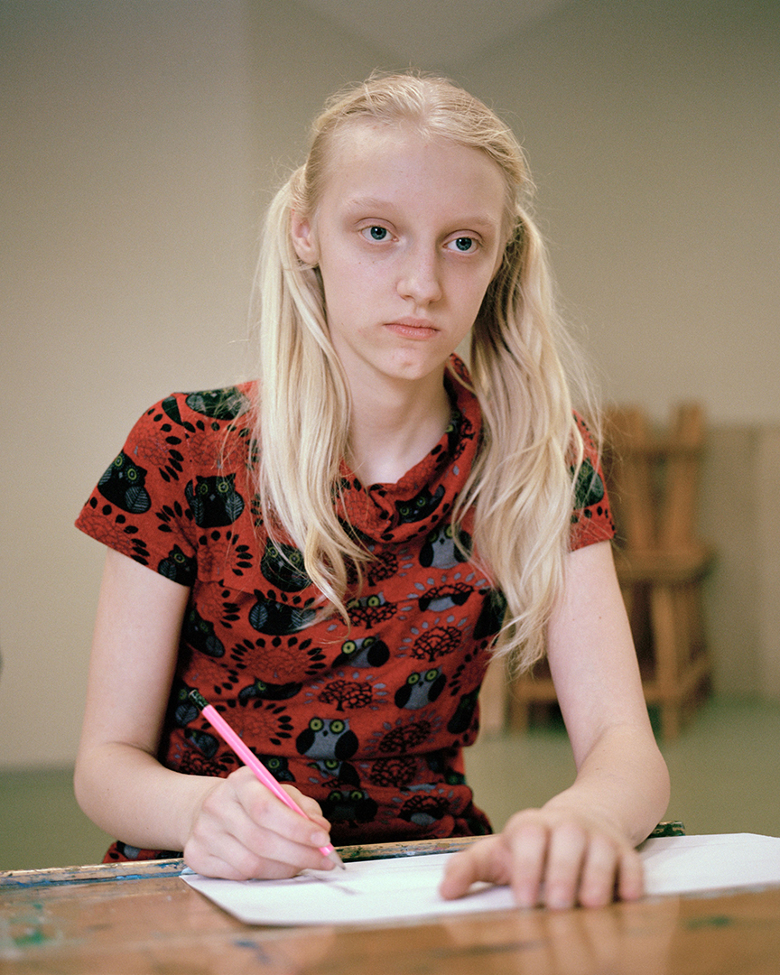 Katrina, student of Valka Art School draws some sketches while attending the drawing class. Valka, Latvia. March 11th 2016. This trilingual (Latvian, Estonian and Russian) school is attended by children from both sides of the Latvian and Estonian border.